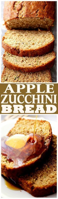 Healthy Apple and Zucchini Bread - Fluffy, moist, sweet, and delicious whole…