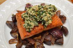 Salmon with Spinach-Walnut Pesto with Purple Potato & Red Onion Hash - the pesto makes this dish!