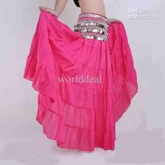 TMS Multi 4 Tier Skirt Belly Dance Club Gypsy Costume Tiered Jupe Robe Tribal