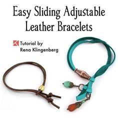 Adjustable Sliding Leather Bracelet Tutorial by Rena Klingenberg #GoldJewelleryDisplay