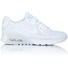 Nike Women's Air Max 90 Ultra BR Sneakers ($130) ❤ liked on Polyvore featuring shoes, sneakers, white, lace up sneakers, flat shoes, mesh sneakers, nike and white shoes