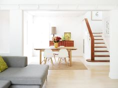 For general color tone comparison. This might be the general color scheme of douglas fir rail color against a bleached floor. This is paired with a bright white paint color. Ipswich House for Real LivingStyling and ProductionLynda Evans