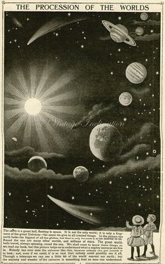 Vintage 1910 Antique SOLAR SYSTEM astronomy constellations -  planets saturn stars comet sun earth jupiter on Etsy, $21.50