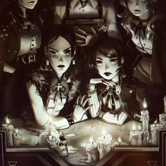 WIM Enjoyed and Liked on instagram from cosmicspectrum: Seance vibes  #witches #girls #GrimoireNoir  Will post the full image on tumblr soon :D by cosmicspectrum