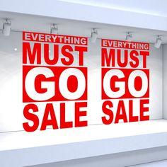 Details about 2 x everything must go sale shop window vinyl stickers retail decals Sale Signage, Reverse Mirror, Retail Windows, For Sale Sign, Everything Must Go, Display Design, Window Decals, Visual Merchandising, Window Signage