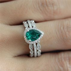Wedding Ring Set of 6X8mm Pear Shaped Emerald Engagement Ring and 2 Diamonds Bezel Half Eternity Ring - Vogue Gem