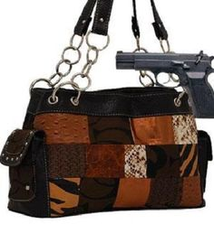 Brown Fashion Patch Signature Conceal and Carry Purse  #Cleto #Hobo