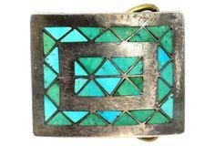 Navajo Turquoise Inlay Belt Buckle
