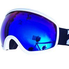 d832a915e32 ZIONOR iSKi 1X Ski Goggles with Spherical Detachable Dual-Lenses UV400  Protection Anti-fog Mirror Coating Helmet Compatible Adjustable Strap for  Ski