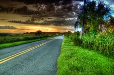 Sunset road in the wetlands...