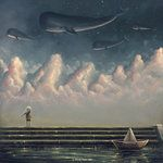 I wrote a poem about forever fish once - this picture reminded me of it - Exceptional Illustrations by Murat Turan Illustrations, Illustration Art, Space Whale, Whale Art, Whale Song, Surrealism Painting, Psychedelic Art, Surreal Art, Apocalypse