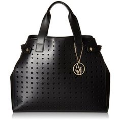 Armani Jeans Perforated Eco Leather East West Tote Shoulder Bag ($260) ❤ liked on Polyvore featuring bags, handbags, tote bags, armani jeans, shoulder handbags, tote hand bags, armani jeans purse and armani jeans handbags