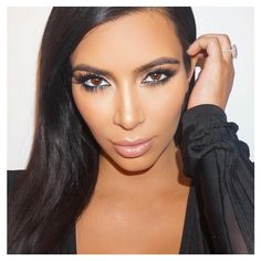 Kim Kardashian, makeup by Mario Dedivanovic and hair by Gregory Russell. via Instagram