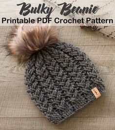 Make a cozy hat with bulky yarn. bulky hat crochet patterns- winter hat crochet … Make a cozy hat with bulky yarn. bulky hat crochet patterns- winter hat crochet …,Handarbeiten Make a cozy hat. Crochet Adult Hat, Crochet Winter Hats, Crochet Beanie Pattern, Crochet Patterns, Easy Crochet Hat, Kids Patterns, Crochet Ideas, Crochet Scarves, Crochet Yarn