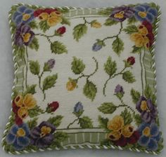Pansy Buds Floral Needlepoint Pillow