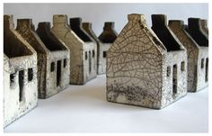 home ceramics studio | Ceramic miniature houses by Rowena Brown
