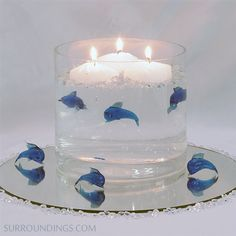 blue glass dolphins
