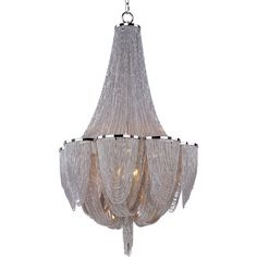 The Chantilly collection by Maxim Lighting features metal frames gracefully draped with Nickel finished jewelry chain. Metal trim rings of Polished Nickel add sharp contrast to the softness of the chain, which conceals the xenon light source. Hanging Chandelier, Empire Chandelier, Chandelier Ceiling Lights, Hanging Lights, Ceiling Fans, Bottle Chandelier, Maxim Lighting, Lighting Store, Chandeliers