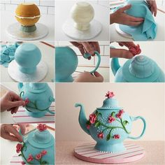 "A teapot cake is such a great ""go-to"" cake design and perfect for a little girl's birthday, bridal tea party ,Mother's Day, or any celebration. Check recipe--> http://wonderfuldiy.com/wonderful-diy-edible-cake-teapot/"