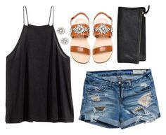 Black, Crystal & Denim by classycathleen on Polyvore featuring H&M, rag & bone, Jeffrey Campbell, Clare V. and J.Crew