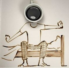 Abstract Art by Christoph Niemann. Christoph Niemann is a graphic designer, illustrator, artist, and author of several books from Germany. For more View Website Coffee Artwork, Coffee Painting, Coffee Photos, Coffee Pictures, I Love Coffee, Coffee Shop, Owl Coffee, Coffee Menu, Photo Café