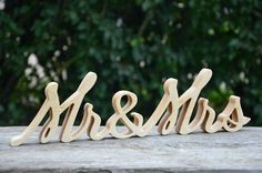 4 inches Mr and Mrs Wooden Wedding Sign, Free Standing Wood Words | KlikKlakBlocks - Wedding on ArtFire