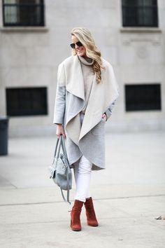 OVERSIZED WATERFALL COAT - Styled Snapshots, winter coats, blanket coat, two toned coat, nyc street style, nyc fashion, winter layers