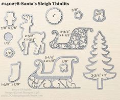 Santa's Sleigh Thinlits sizes shared by Dawn Olchefske #dostamping #stampinup
