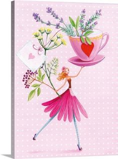 Such a pretty illustration of coffee love and flowers! Birthday Greetings, Birthday Wishes, Birthday Cards, Art Fantaisiste, Art Carte, Art Et Illustration, Jolie Photo, Whimsical Art, Cute Art