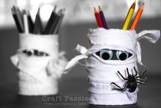 tin can pencil holder - fabric-wrapped mummy