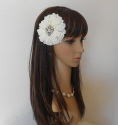 White Zinnia Hair Fascinator With Crystal by IrmasElegantBoutique.Etsy.com