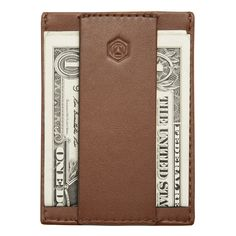 """The Minimalist™"" Brownstone. A slim leather wallet designed to carry your most essential cards and cash."