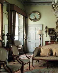 English home of architect Sir Albert Richardson (1880-1964), leading English architect. Room at his Bedfordshire home untouched since 1964.