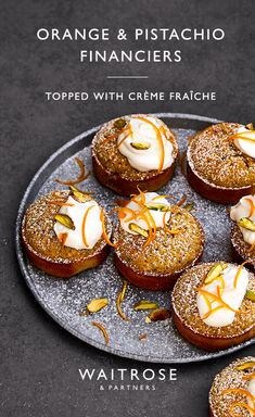 Orange and pistachio financiers Friands Recipe, Financier Recipe, Baking Recipes, Cake Recipes, Dessert Recipes, Cupcakes, Cupcake Cakes, Waitrose Food, Cooking