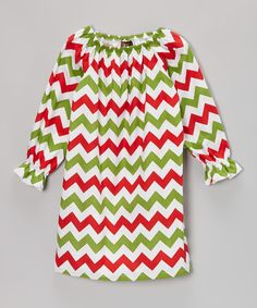 Take a look at this Red & Green Christmas Zigzag Peasant Dress - Toddler & Girls on zulily today!