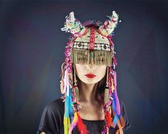 White tribal crochet hat colorful and cool  shaman by UTHAhats, $140.00