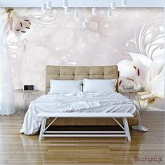 """Water-resistant and scratch-proof fleece wallpaper """"Winter Song"""" Wallpaper """"Winter Song"""" beautiful Lilly flowers with floating bubbles this wallpaper mural will look amazing in any room in your home or workplace 3d Wallpaper Mural, Wallpaper Paste, Photo Wallpaper, Lilly Flower, Winter Songs, Decoration Design, Vibrant Colors, Art Deco, Bed"""