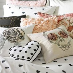 Pottery Barn Teen: Get inside your comfort zone with the edgy appeal of our Emily + Meritt Stitch Pillow Covers, detailed with embroidery for plenty of depth and dimension.