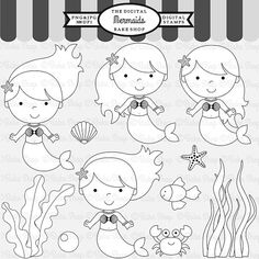 mermaid stamps clipart digital clip art - Under The Sea Digital Stamps