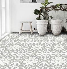 These Trefle Thistle tiles come in a nice mint/grey/white color palette that would add color and brightness to your space. Best Picture For laminate flooring For Your Taste You are looking for somethi Linoleum Flooring, Kitchen Flooring, Ceramic Flooring, Floors, Penny Flooring, Tile Wood, Porch Flooring, Terrazzo Flooring, Ceramic Floor Tiles