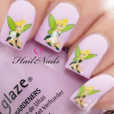 20 mixed tinkerbell decals on a clear water transfer which can be applied over any colour varnish on either your natural or false nail. Really easy