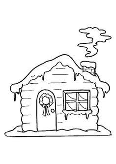 Dessin à colorier d'une maisonnette en bois recouverte de neige en hiver