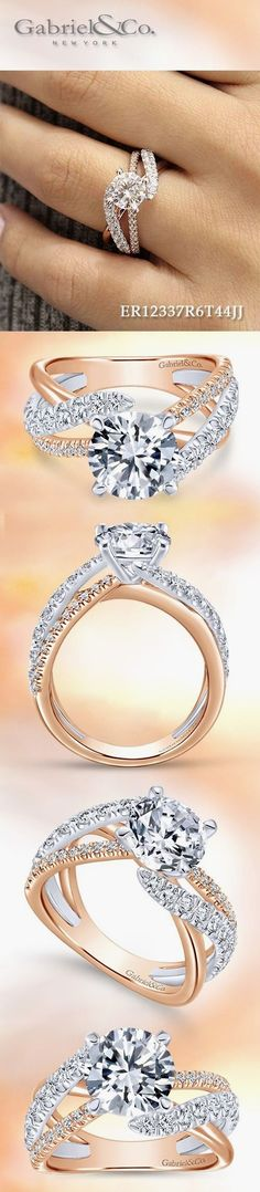 Gabriel & Co. - Voted #1 Most Preferred Fashion Jewelry and Bridal Brand.  Meet Zaira 14k White/Rose Gold Round Free Form  Engagement Ring