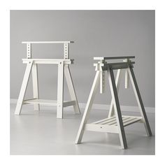 FINNVARD Trestle with shelf - white, Solid wood is a durable natural material. You can choose a flat or tilted table top, which is good for writing, painting or drawing, by adjusting the trestle.