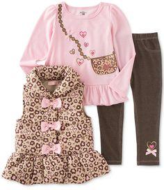 Kids Headquarters Baby Girls' 3-Piece Animal-Print Vest, Shirt