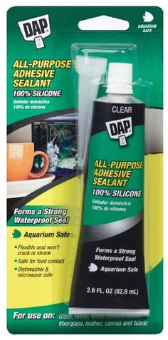 $7.20-$6.49 mfr: DAP AQUARIUM SEALANT Long lasting 100% silicone rubber helps build and repair aquariums. Waterproof. Stays flexible. Won't crack or shrink. Non-toxic to fresh or saltwater fish when cured. COLOR Clear SIZE 2.8 OZ   Package Shipping Size 8.75 x 5.5 x 8.25 (not product dimensions)