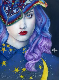 Original Portrait Drawing by Helene Cayre Moth Drawing, Pastel Drawing, Pastel Pencils, Purple Orchids, Polychromos, Pencil Portrait, Memento Mori, Figurative Art, Girl Tattoos
