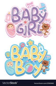Set of baby sticker vector image on VectorStock Dibujos Baby Shower, Imprimibles Baby Shower, Baby Shower Clipart, Baby Shower Deco, Baby Boy Shower, Diy Baby Costumes, Happy Birthday Printable, Baby Boy Cards, Baby Boy Scrapbook