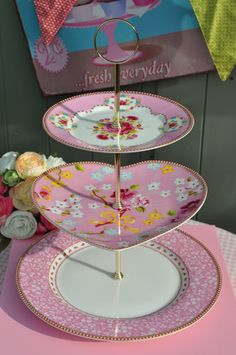 Pink PiP Studio New Chintz Plates Heart 3 Tier Cake Stand
