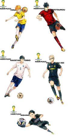 with football instead of volleyball - (Left-to-right) Hinata, Kuroo, Kageyama, Tsukishima & Nishinoya>>> Haha, Noya would totally be goalie! Kagehina, Haikyuu Nishinoya, Manga Haikyuu, Kuroo Tetsurou, Daisuga, Kageyama Tobio, Haikyuu Fanart, Haikyuu Ships, Tsukishima Kei
